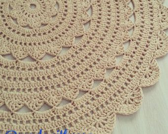 Round white doily rug 45'' / 115 cm  handmade by ForHomeAndSoul