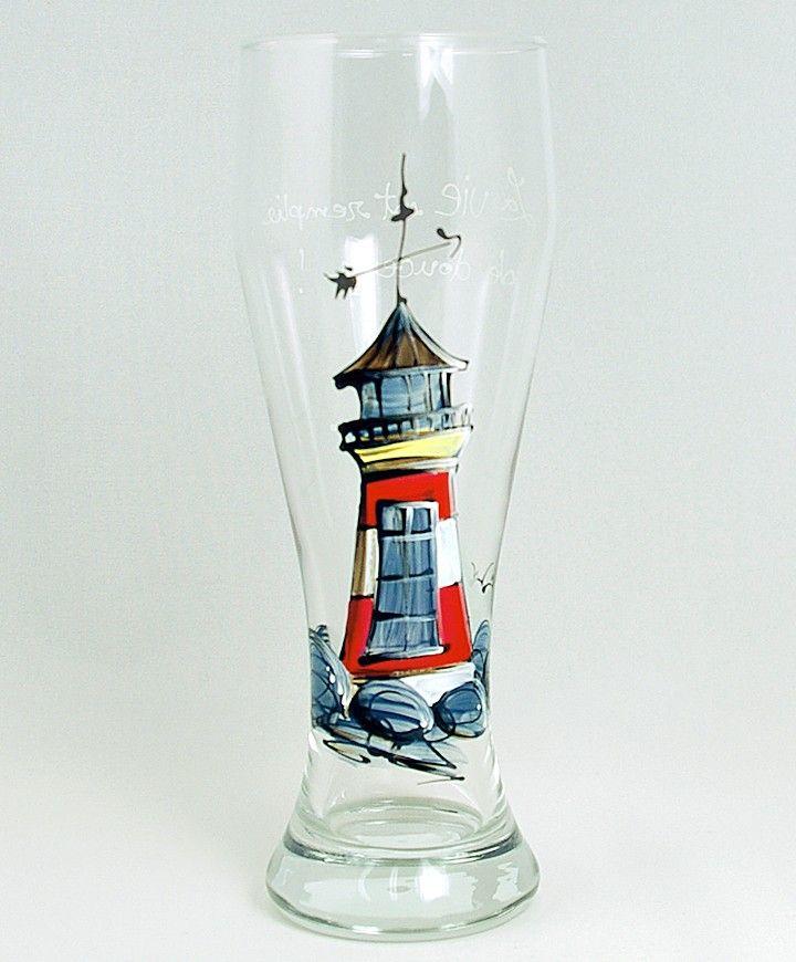 Verre à bière (510 ml) : : Phare   *** Produit peint à la main.