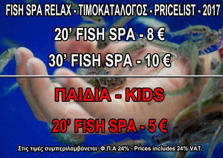 Fish Spa Relax - Pricelist 2017