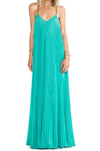 ROMWE | ROMWE Strapped Pleated Backless Green Maxi Dress, The Latest Street Fashion