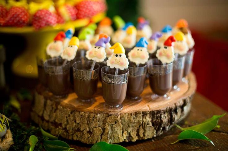 Seven dwarves treats at a Snow White birthday party! See more party planning ideas at CatchMyParty.com!