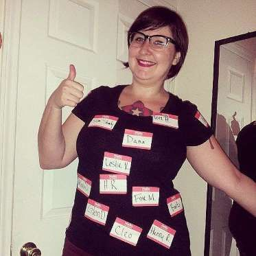 All you need are some name tags and a sharpie to create this costume. - Instagram user katie_holla