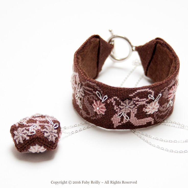 Rose Chocolat Stitched Jewellery - Faby Reilly Designs