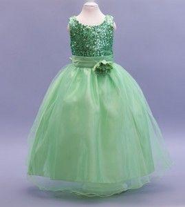 Green Sequin Flower Girl Dress LP55