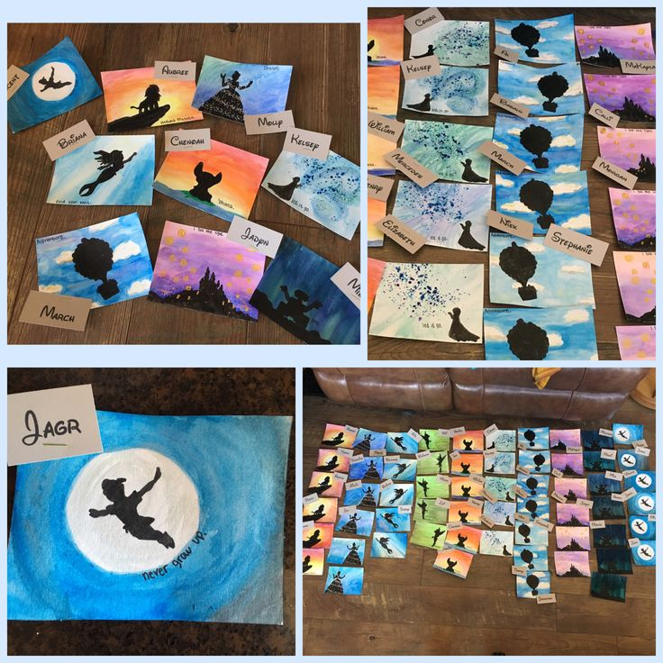 My latest door decs. I got watercolor paper and cut it into fours. I then hand painted the different scenes with watercolor, traced the characters in pencil, then painted the characters with black acrylic paint. Some scenes have added paint (frozen got paint splatter, tangled has added lanterns, Cinderella and Tinker Bell have glitter). I wrote the names with a Disney font, then printed on card stock and stapled on. I added a small movie quote to each door dec!