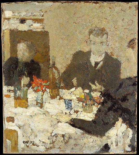 at table by edouard vuillard. i love the pops of red in the painting @ the met
