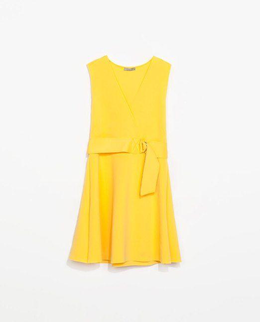 Vestido neopreno amarillo Zara