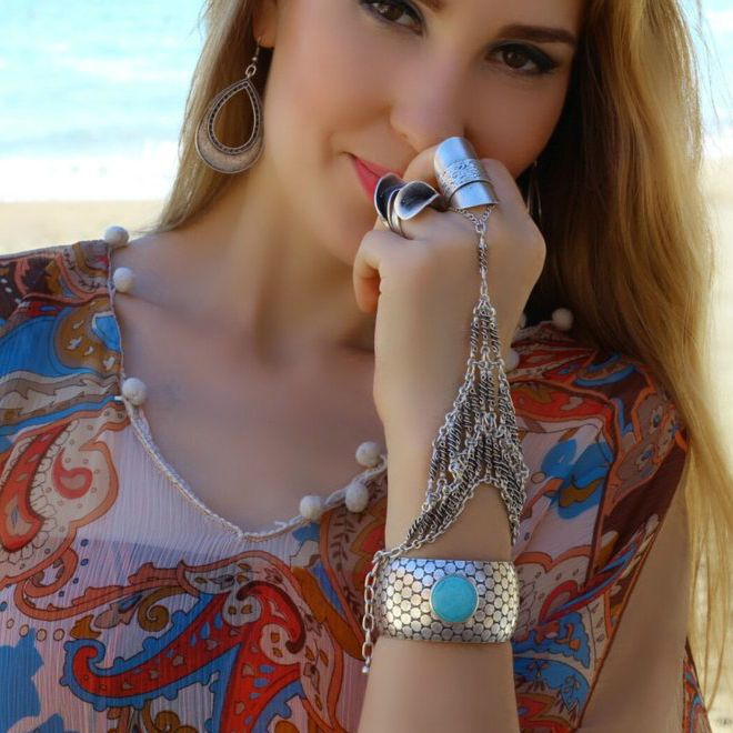 Turquoise Tibetan Statement Fashion Bangle Cuff Silver Retro Women Boho Bracelet #Takimania #Statement
