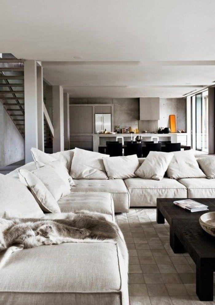 canap beige salon moderne de style scandinave meubles scandinaves - Salon Canape Moderne