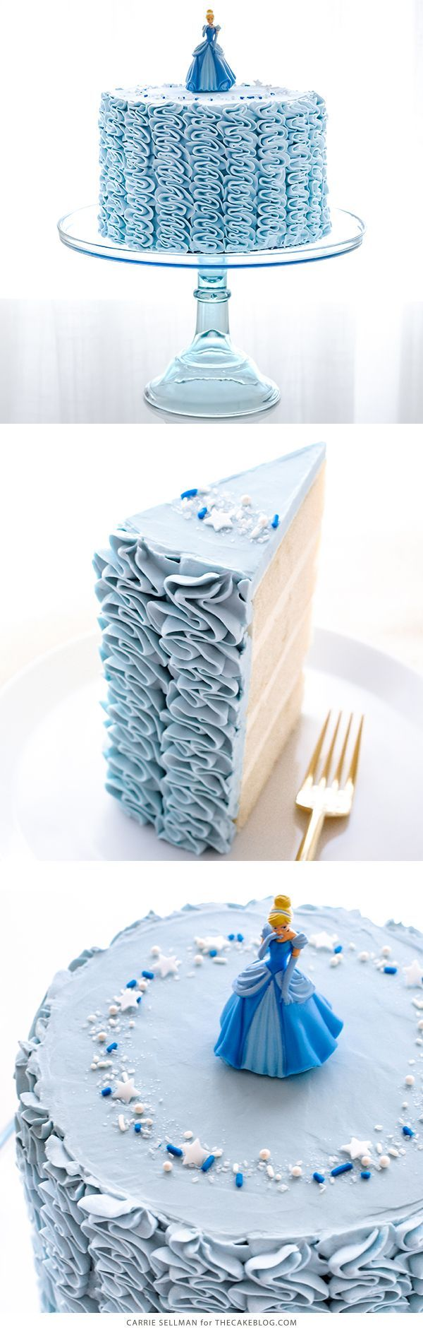Cinderella Cake - how to make a Cinderella birthday cake with fairytale ruffles | Carrie Sellman for TheCakeBlog.com #Cakescom