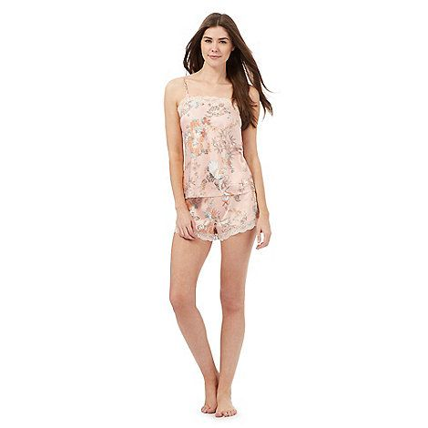 The Collection Pink satin floral print vest and shorts set | Debenhams