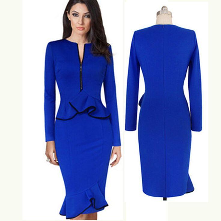 Iş Kadın Mavi Seksi Kalem Elbise Zarif Lady Kılıf Uzun Kollu Elbiseler Kadın Giyim Bodycon Akşam Parti Elbise   32721752679_nl