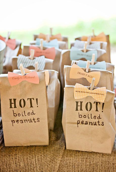 Brides: Bags of Boiled Peanuts Wedding Favors. For a taste of the south, give your wedding guests bags of freshly-made boiled peanuts. Bonus points for couples that use similar bow tie-shaped tags!