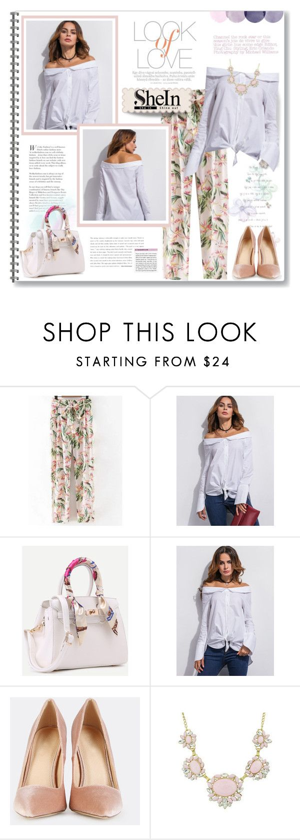 """""""Long Sleeve Shirt ♥ Shein"""" by viebunny ❤ liked on Polyvore featuring Vince, floral, pastel, pants, longsleeve and shein"""