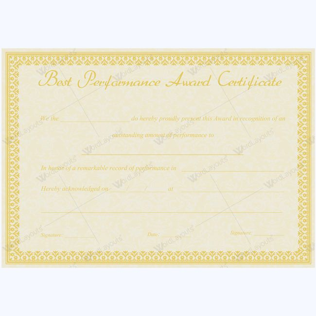 Best performance award certificate templates 14 best performance award certificate 07 yelopaper Gallery