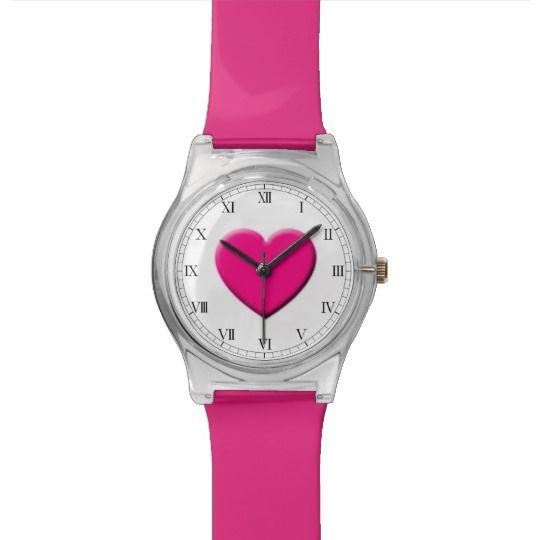 Pink Heart Watch by www.zazzle.com/htgraphicdesigner* #zazzle #gift #giftidea #wrist #watch #wristwatch #love #heart #pink