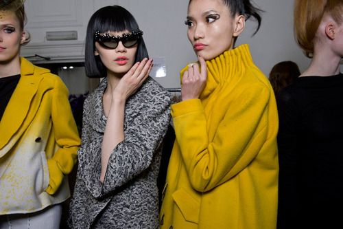 ++ Backstage at Kinder Aggugini's a/w 2011 London show,  sunglasses by General Eyewear,  images courtesy of Dazed Digital.