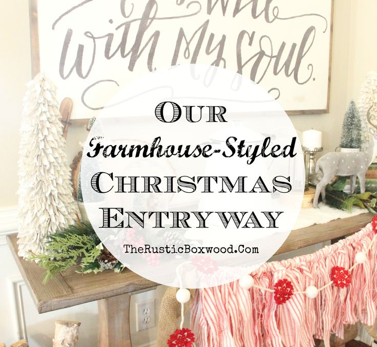 Our Farmhouse-Styled Christmas Entryway   The Rustic Boxwood   ticking, garland, deer, christmas trees, bottle brush trees, faux fur, birch bark, ironstone, vintage books, enamelware, farmhouse style