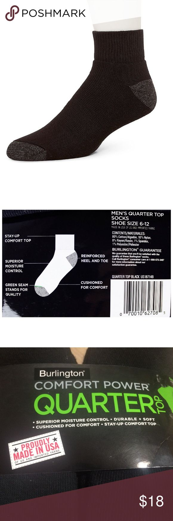 10 Pairs Black Socks Quarter Top Made in USA Fits Shoe Size: 6-12. Superior Moisture Control. Cushioned for Comfort. Made in U.S.A. 80% Cotton, 10% Nylon, 8% Rayon, 1% Spandex and 1% Polyester. Burlington Underwear & Socks Athletic Socks