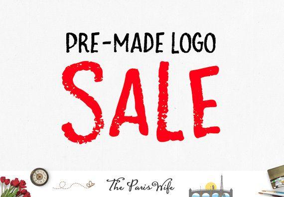 SALE premade logo design watercolor logo etsy shop logo website logo blog logo watermark