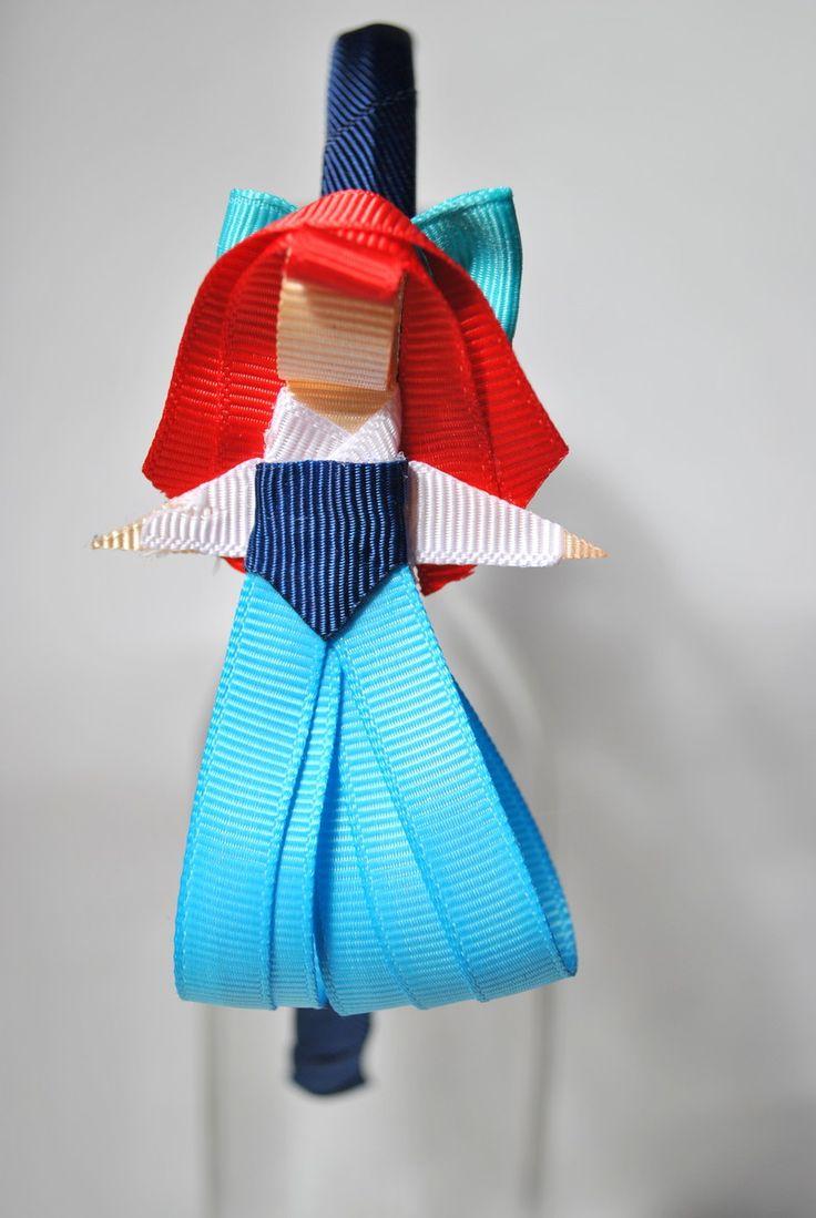 tiara da Ariel humana - Pequena Sereia esculturas feitas com fitas de gorgorão à mão.  **ARCO DE TAMANHO ÚNICO - 39CM DE PONTA A PONTA