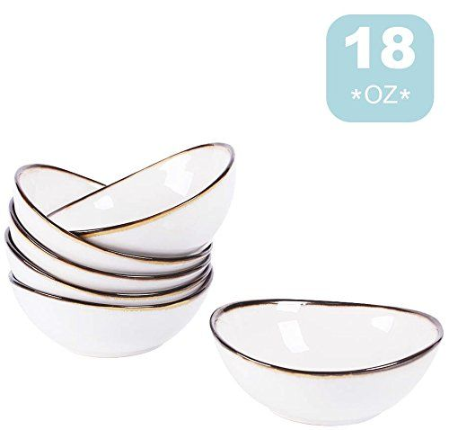 Cereal Bowl Set, 18 Ounce, 6 packs, White Porcelain, with Gold Rim and Microwavable for Cereal, Soup, Greek Style #Cereal #Bowl #Set, #Ounce, #packs, #White #Porcelain, #with #Gold #Microwavable #Cereal, #Soup, #Greek #Style