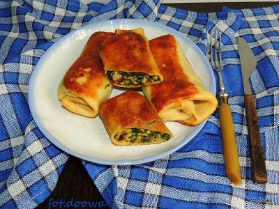 Moje Małe Czarowanie: Naleśniki zasmażane ze szpinakiem, mięsem i serem ...