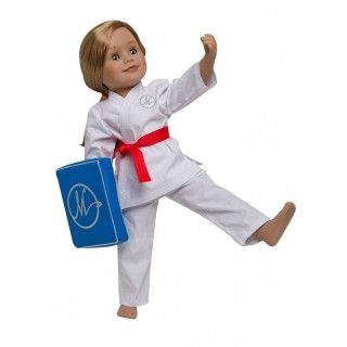 Karate Kicks: The nine coloured belts than come with this karate outfit will help your doll display her achievements as she works on her way towards the highest level!  A soft, loose fitting cotton jacket with top-stitching details wraps across the front with an invisible dome closure. Pull-on cotton pants will allow your Maplelea girl to have lots movement as she uses the kick pad to perfect her karate moves. Velcro straps keep the kick-pad attached to the doll's arm as she practices.