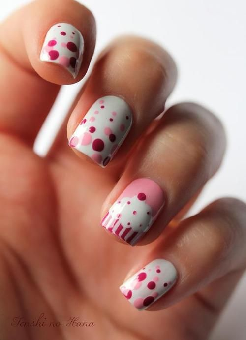 White and Pink Nails with Polka Dots and Cupcake - Valentine's Day