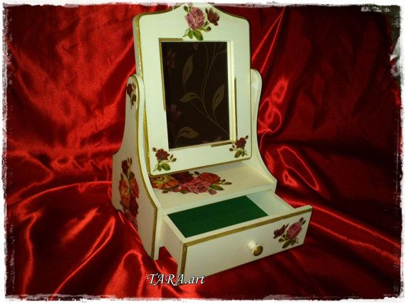 Decoupage jewelry box with mirror and drawers by LaverdureStudio