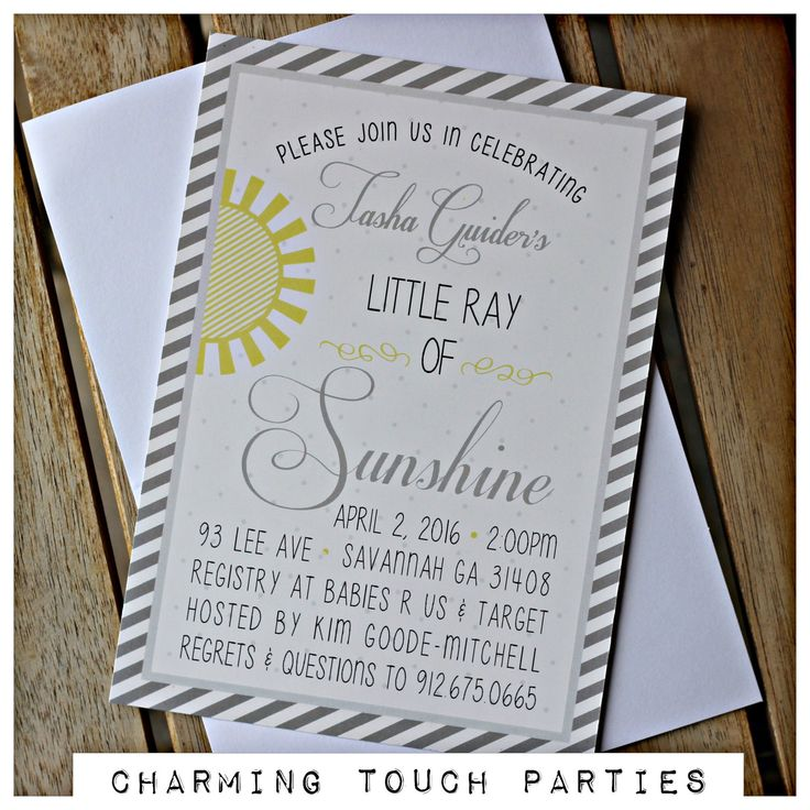 Sunshine Baby Shower invitation.  Set of 20, professionally printed with envelopes.  Yellow/grey / Ray of Sunshine, customizable. by CharmingTouchParties on Etsy