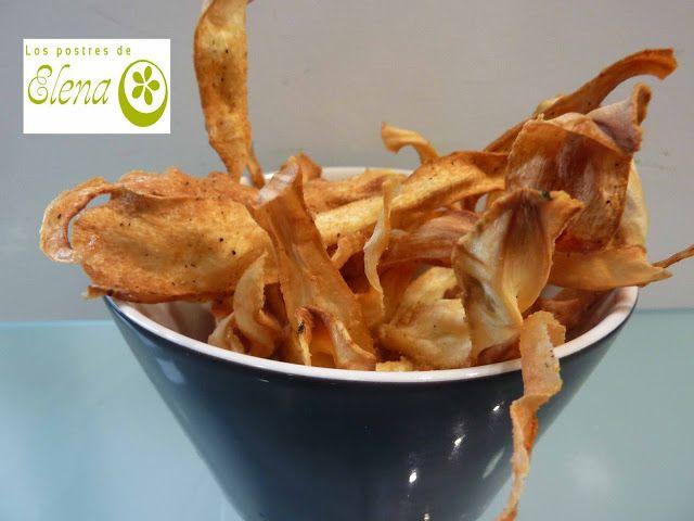Los Postres de Elena: Chips de chirivía con tomillo, sal y mostaza. http://www.lospostresdeelena.com/2017/06/chips-de-chirivia-con-tomillo-sal-y.html #Tenerife #Canarias #España #Vegetariano #Vegano #Vegetarian #Vegan