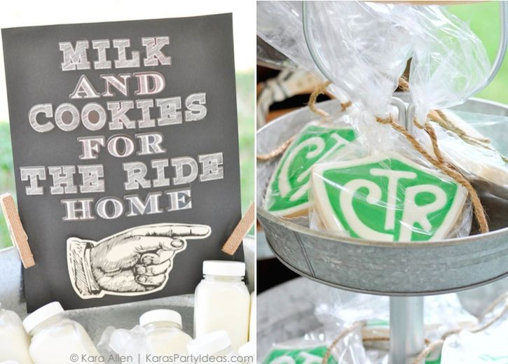 Milk and cookies sign | CTR cookies at a Chalk + Chalkboard and Burlap themed baptism luncheon party via Kara Allen | Kara's Party Ideas | KarasPartyIdeas.com #baptism #ldsbaptism #karaspartyideas_- 400