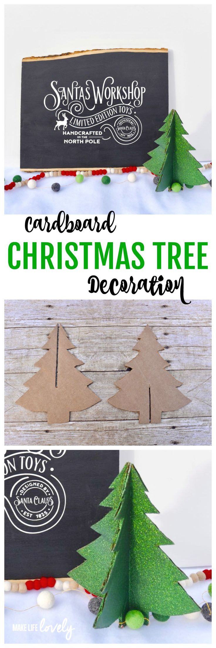 Cardboard Christmas tree decoration. Make this darling Christmas tree from a cardboard box! It's a great way to recycle and is a fun Christmas craft. #nothinglikeahug #ad