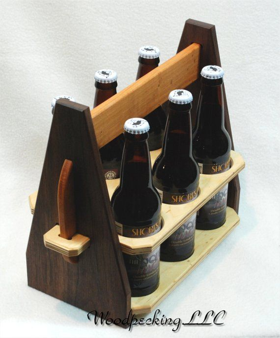 Beer 6 Pack Bottle Caddy Custom Carrier Wood Tote made w/ Personalized Carving / Engraving for Craft Brew Hand made in Michigan Customized