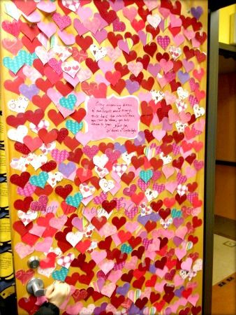 478 Paper Hearts adorn the door to the Teacher's Lounge for 478 Students who are #Thankful for everything they do.