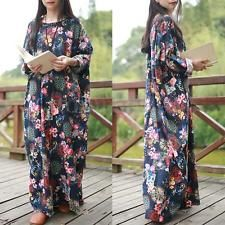 AU 8-24 женщин год сбора винограда вскользь Цветочные Печатный Сыпучие Макси Длинные рубашки платья Кафтан