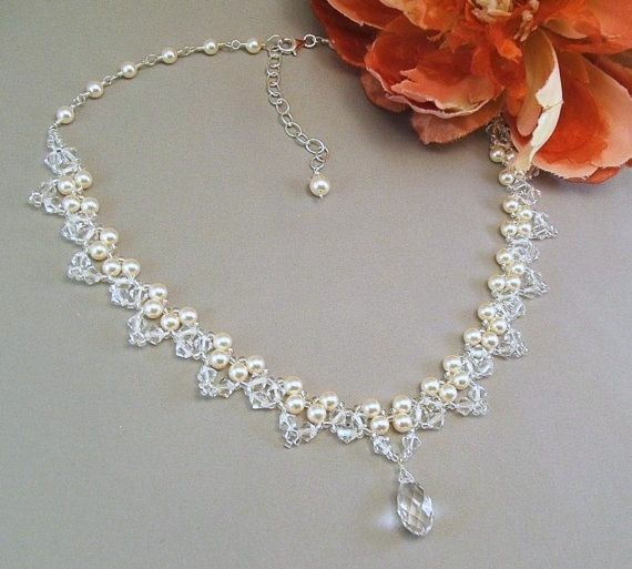 Choice of White or Cream Pearls, Bridal Necklace, Wedding Jewelry, Crystal Necklace, Crystal Teardrop Necklace