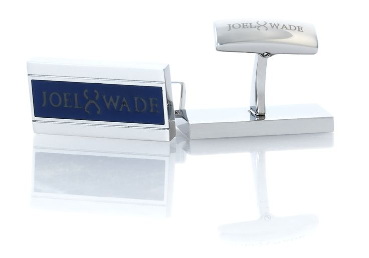 'Milestone' Cufflinks by Joel Wade. These premium cufflinks are crafted from stainless steel and finished in platinum with a navy blue lacquer and subtle Joel Wade vintage logo.