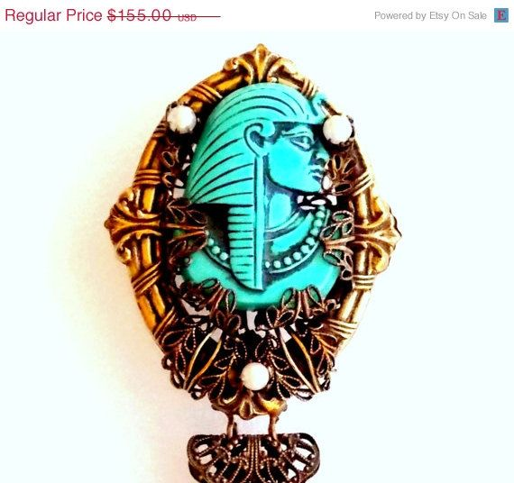 ON SALE Selro Egyptian brooch with dangles by popgoesmyvintage