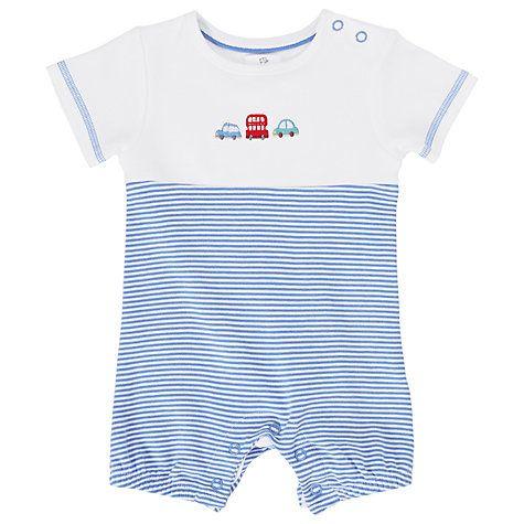 Buy John Lewis Baby's Car Print Shortie Sleepsuit, Blue Online at johnlewis.com