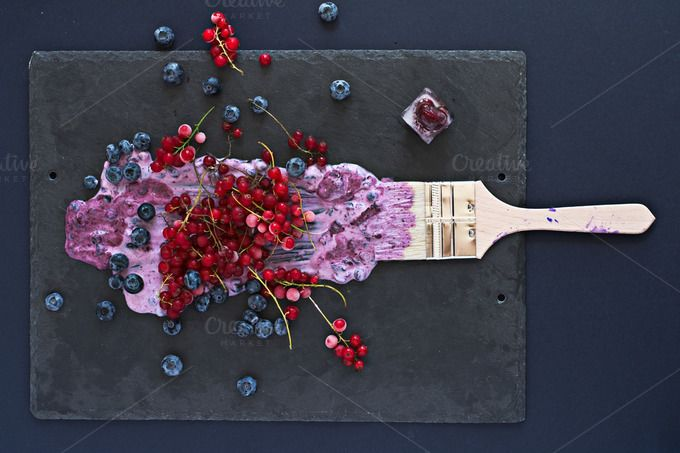 Painting with berries and ice cube. by kawizen  on @creativemarket  #berries #yogurt #violet #purple #painting #foodart #brush #tray #slatetray #servingtray#currants #blackberries #currant #redcurrant#tabletopview #topview #summer #season#seasonal #fruits #flavor #red #explosion#art #artistic #kitchentray #icecube #frozencherry #frozen #icy #frosty