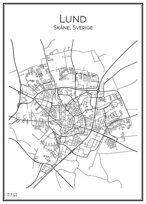 Handritad affisch över Lund i Skåne. Här kan du beställa stadskarta över din stad och andra svenska samt utländska städer.