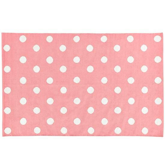 Lotsa Polka Dots Rug (Pink) in Cotton Rugs | The Land of Nod