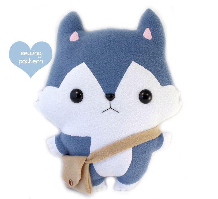 "PDF Plush sewing pattern - Wolf Husky dog kawaii plushie - easy DIY stuffed animal 14"" by TeacupLion on Etsy https://www.etsy.com/listing/124959235/pdf-plush-sewing-pattern-wolf-husky-dog"