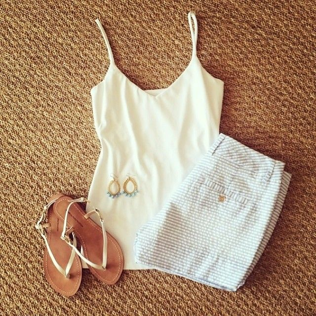 Love this simple summer outfit - Annie Griffin's seersucker shorts pair perfectly with an easy white tank! (Styled by Sassy Boutique)