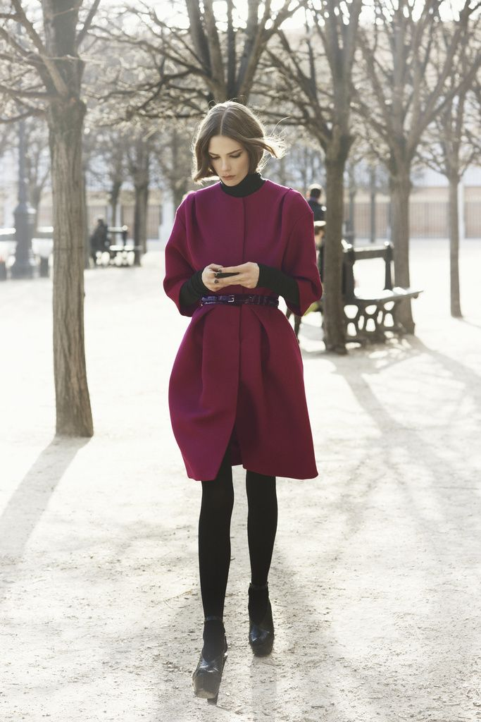 Voluminous wine-maroon coat  Christian Dior Pre Fall 2012: