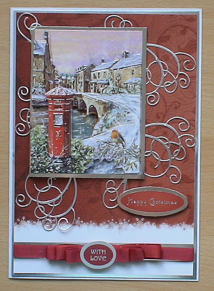 #Hunkydory #create and craft #spellbinders The topper and background card are from the Hunkydory 4 day deal on create and craft. I have also used a swirl die dies and silver mirri card, the ribbon has been made from my crafty stash.