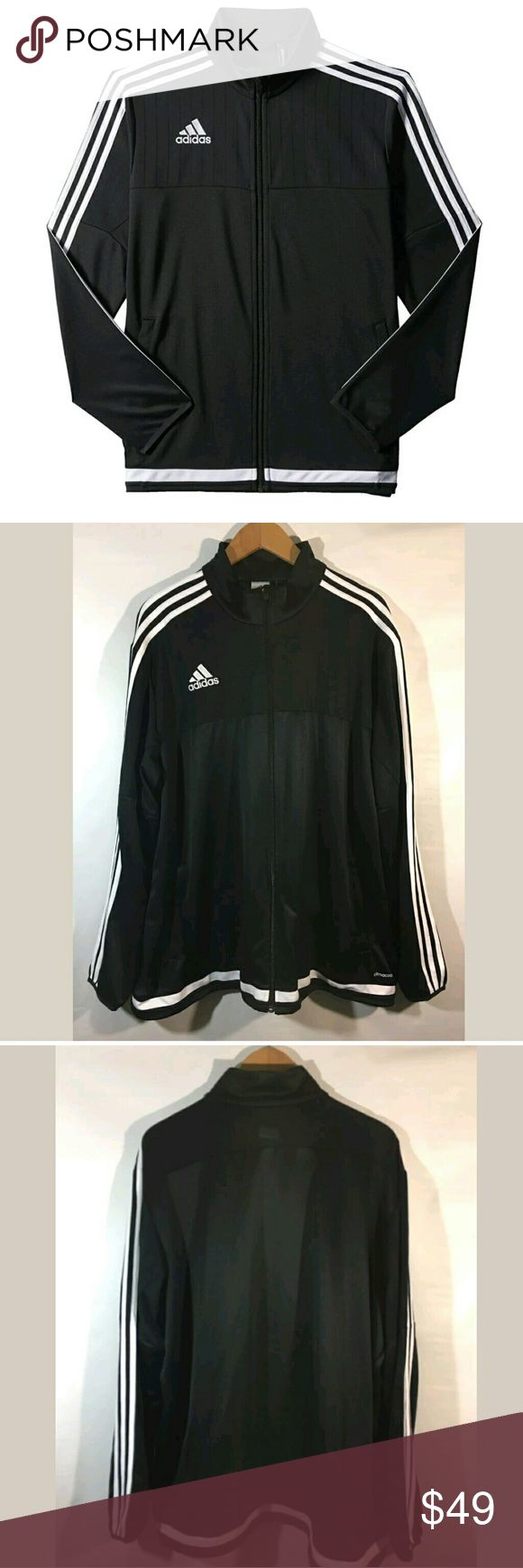 Adidas Jacket Men's 2XL Soccer Tiro 15 Training Adidas Jacket Men's 2XL Soccer Tiro 15 Training Stripes Black White  Excellent used condition.   27.5 inches pit to pit.  30 inches long.   LB adidas Jackets & Coats Performance Jackets