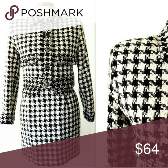 """90s 1990s CLUELESS Style Houndstooth Skirt Suit xs Super cute 90s Clueless style black & white houndstooth tweed skirt suit. Boxy cropped fitted blazer jacket with small shoulder pads for shape, faux pockets and decorative buttons.Matching mini skirt. Fully lined. Adorable! Very inspired by Chanel!  Fit for an xs/sm 16"""" across shoulder to shoulder seam 34"""" bust 16.5"""" length 22.5"""" sleeves  SKIRT: 26"""" waist 34"""" hips 17.5"""" length Dresses"""